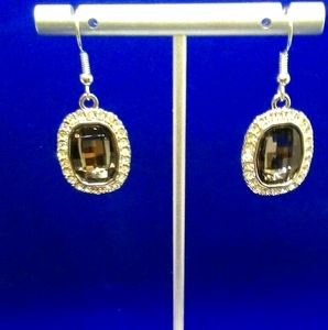 4/$15 Earrings/ gunmetal stone with cz's